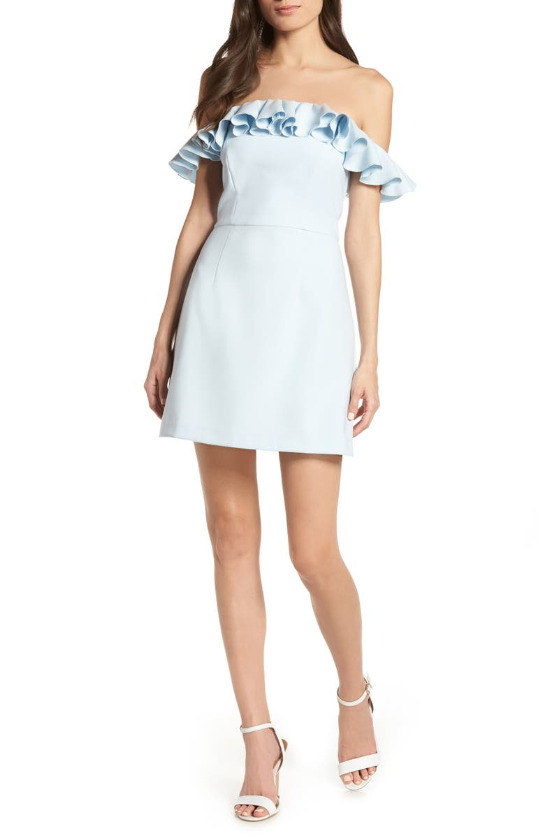 FRENCH CONNECTION Whisper Light Off the Shoulder Ruffle Minidress, Main, color, LIGHT DREAM BLUE