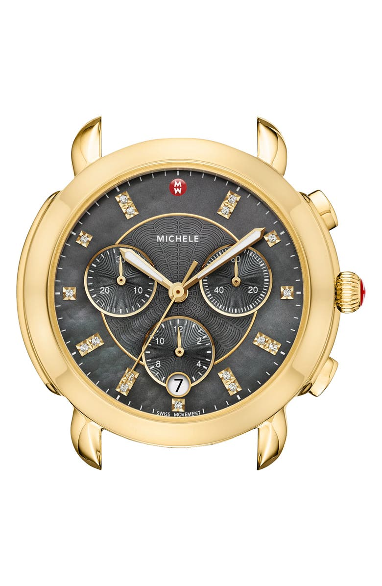 MICHELE Sidney Chronograph Diamond Watch Head, 38mm, Main, color, GOLD/ GREY MOP