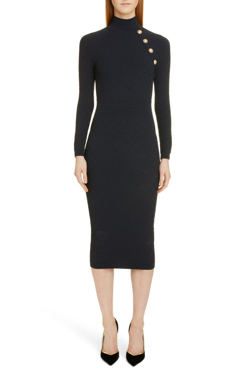 BALMAIN Diamond Knit Long Sleeve Sweater Dress, Main, color, 0PA NOIR