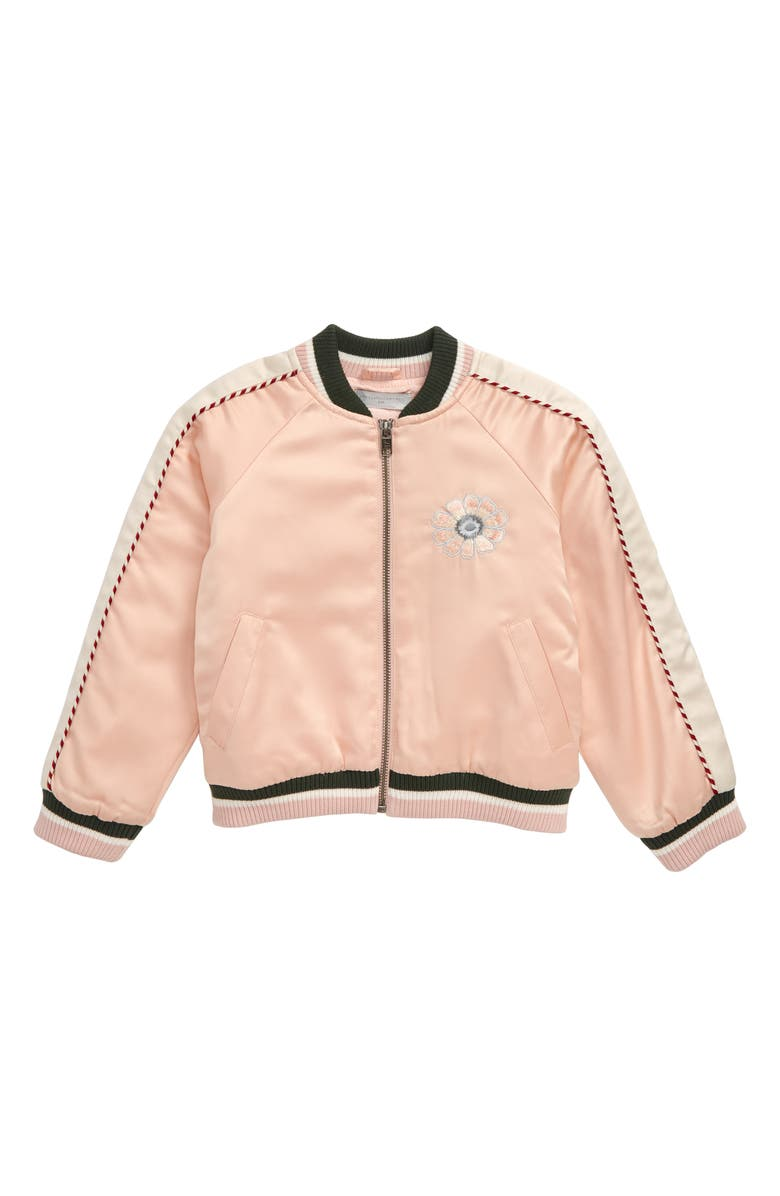 STELLA MCCARTNEY KIDS Satin Bomber Jacket, Main, color, PINK