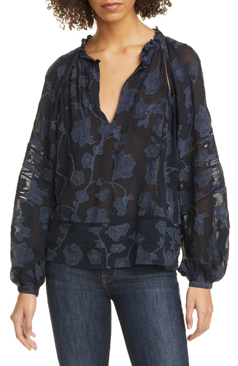 JOIE Chaylse Blouse, Main, color, DEEP SEA