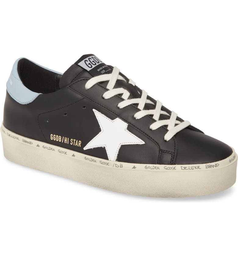 GOLDEN GOOSE Hi Star Platform Sneaker, Main, color, BLACK LEATHER/ BLUE