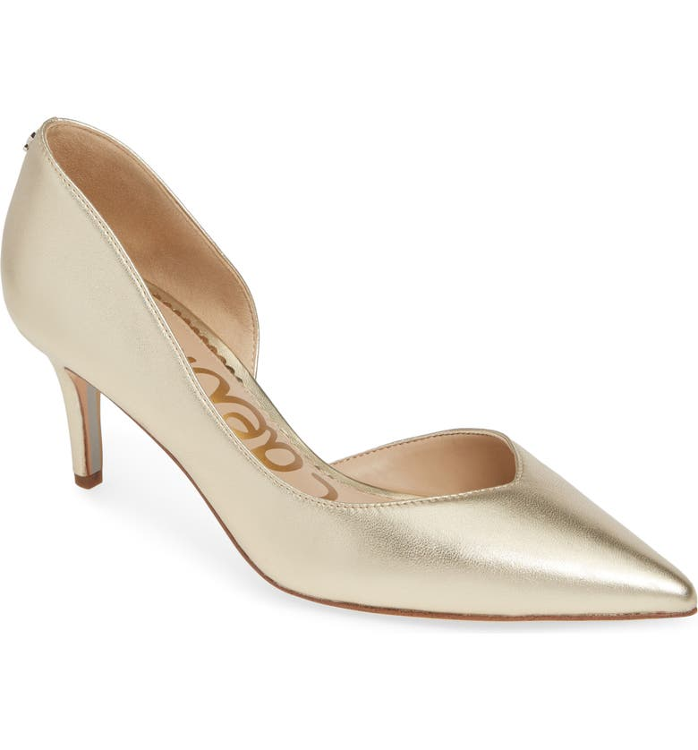 SAM EDELMAN Jari Half d'Orsay Pump, Main, color, MOLTEN GOLD LEATHER