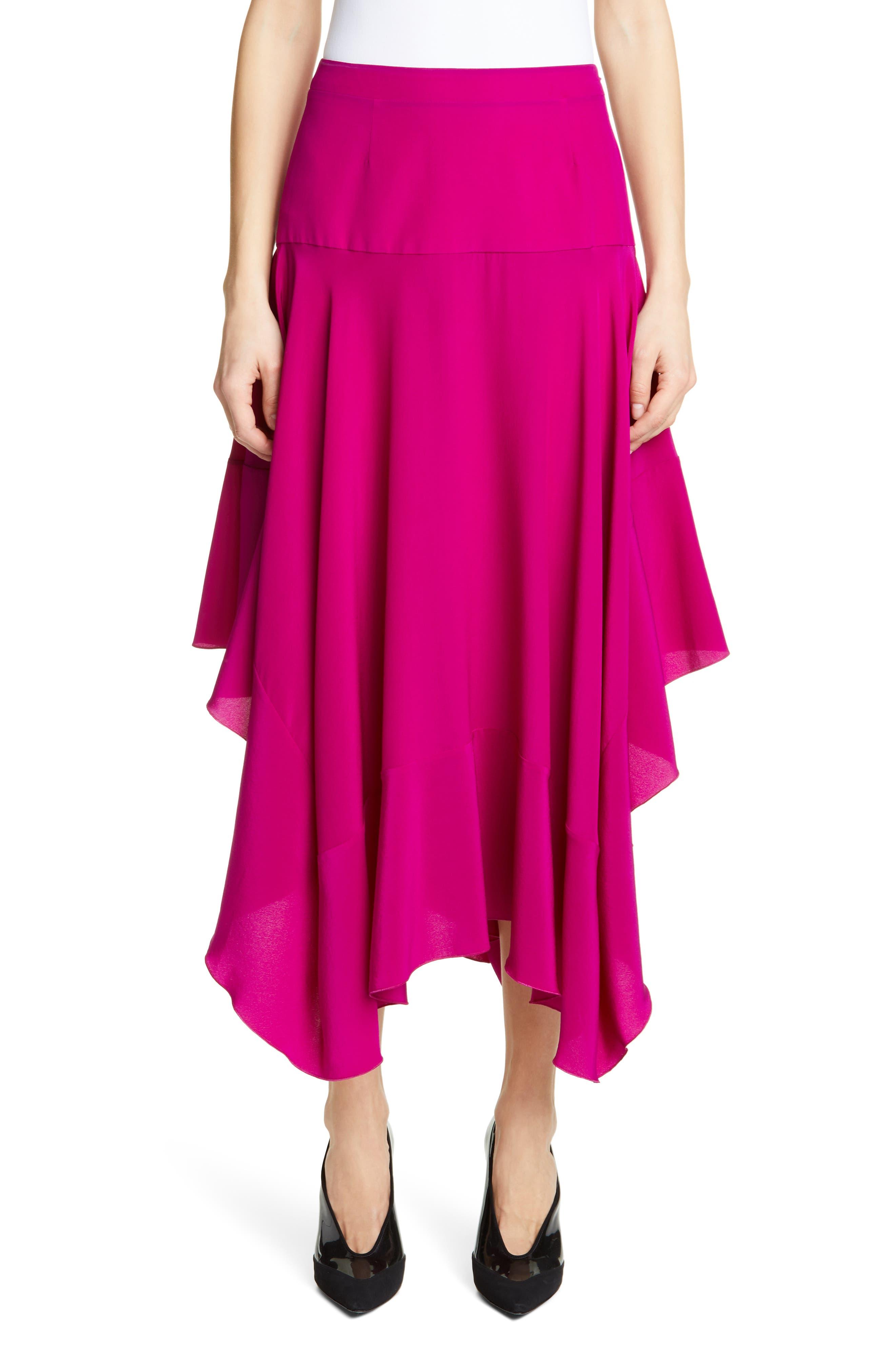 Stella Mccartney Skirts Silk Crêpe de Chine Asymmetrical Midi Skirt