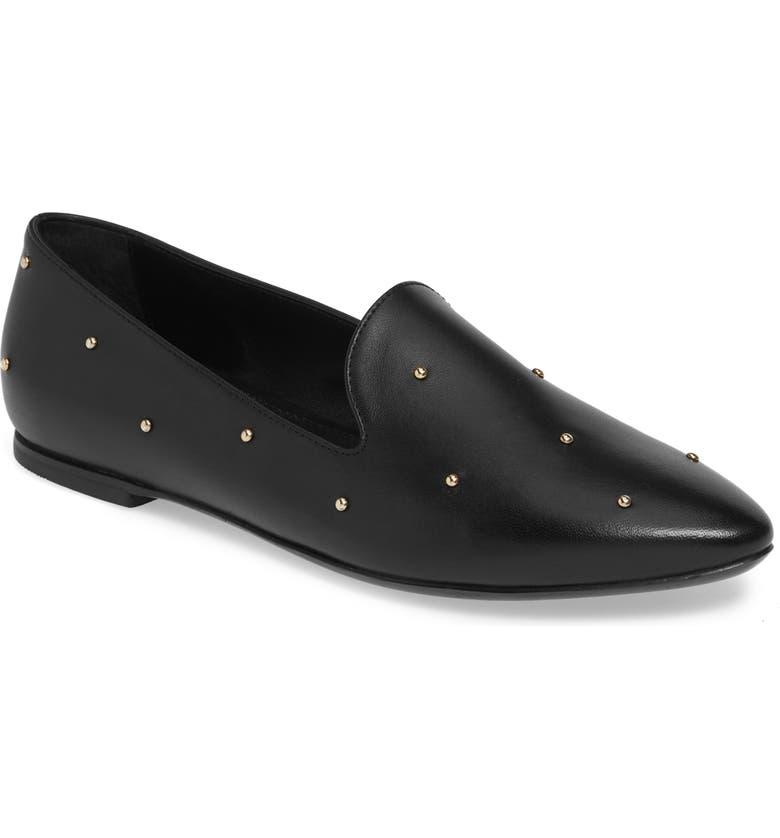 AGL Studded Loafer, Main, color, BLACK LEATHER