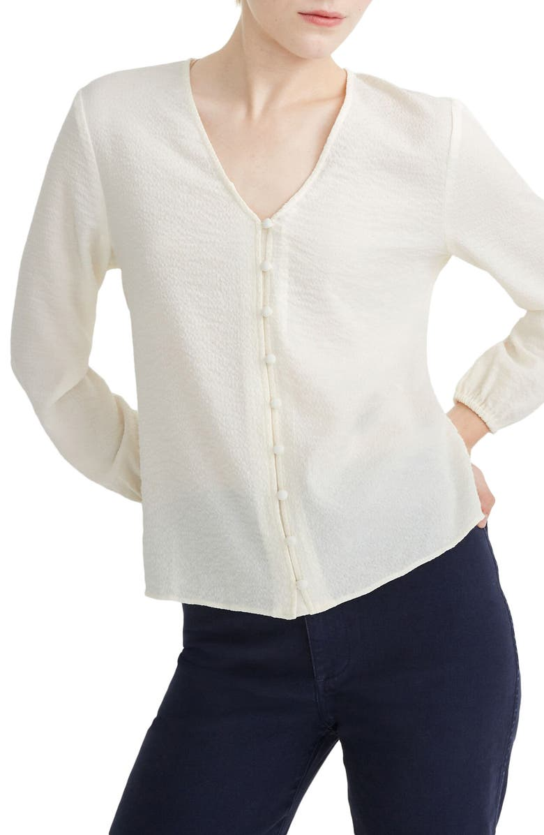 MADEWELL V-Neck Button Shirt, Main, color, ANTIQUE CREAM