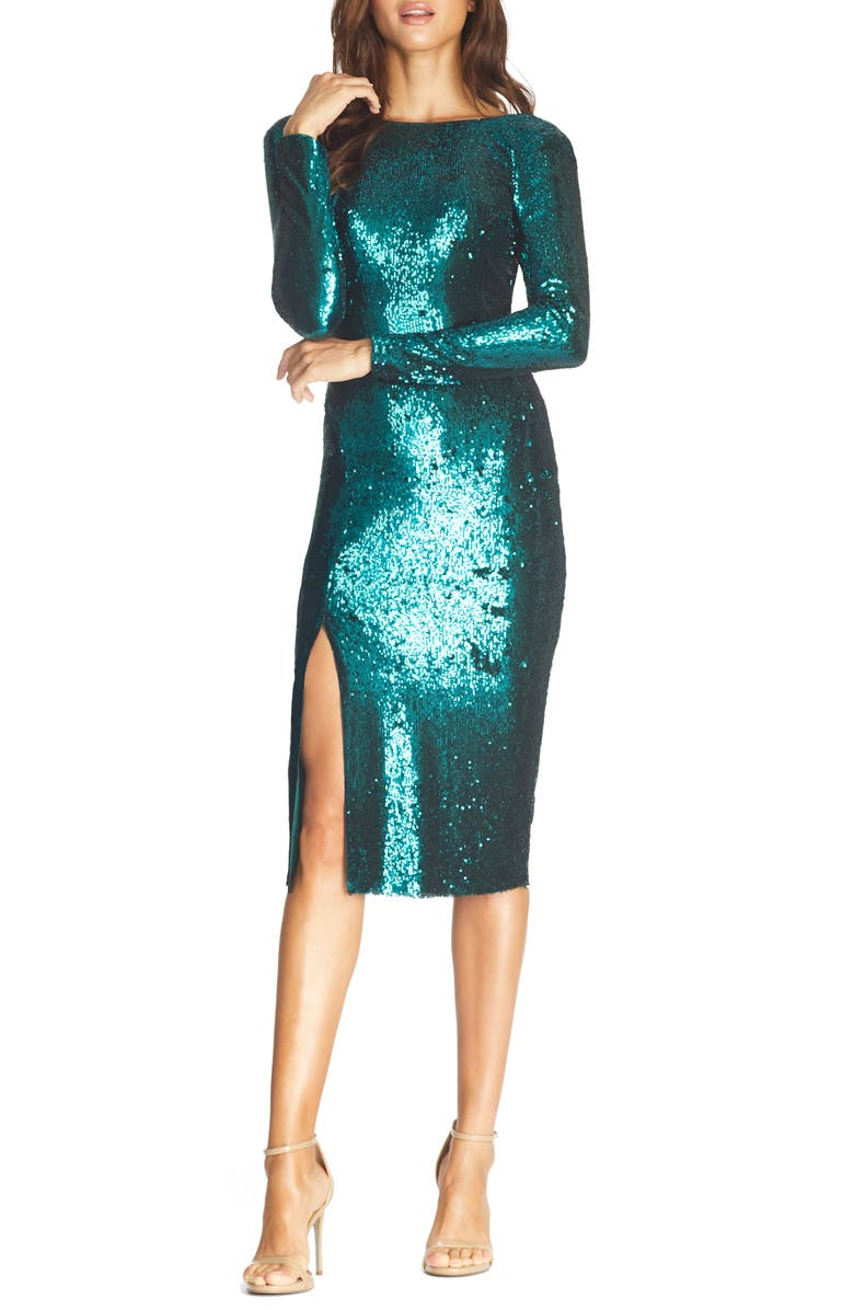 DRESS THE POPULATION Natalie Sequin Long Sleeve Body-Con Dress, Main, color, DEEP EMERALD