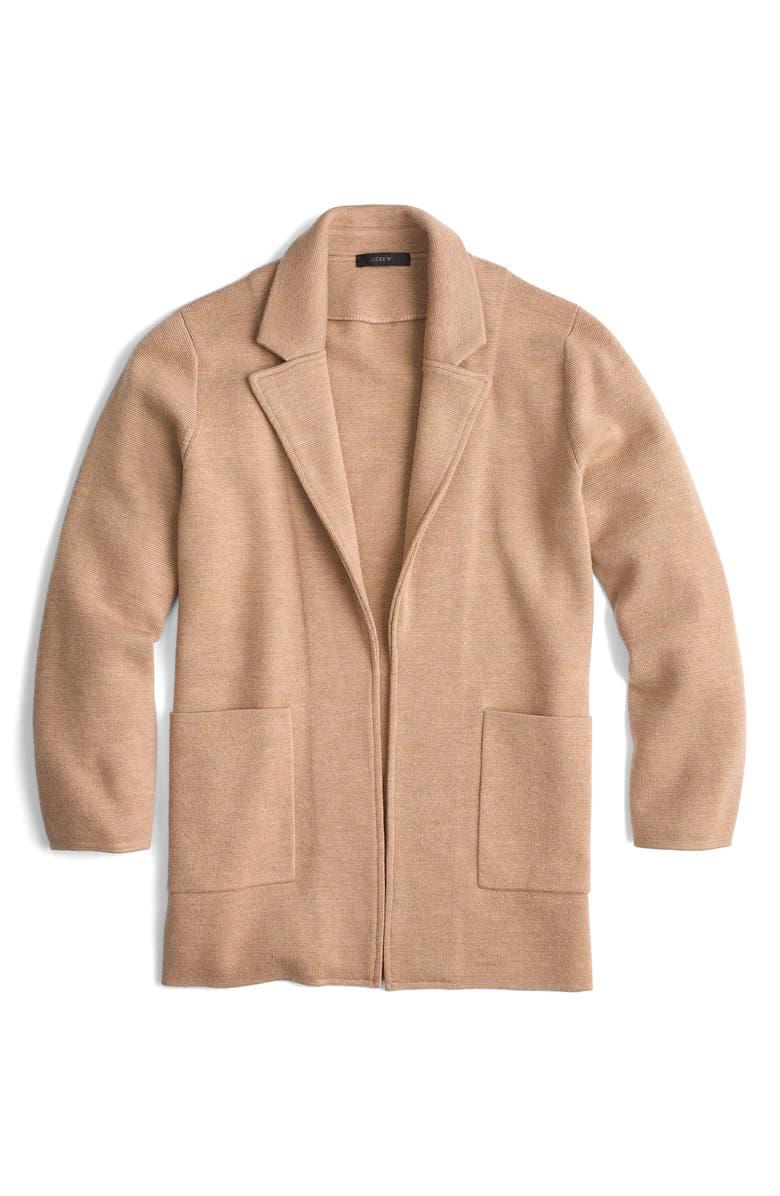J.CREW New Lightweight Sweater Blazer, Main, color, HEATHER KHAKI