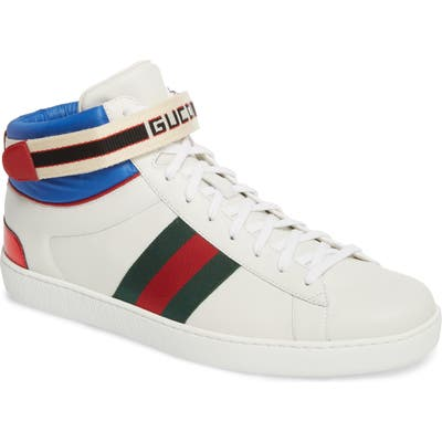Gucci New Ace Stripe High Top Sneaker, US / 13UK - White