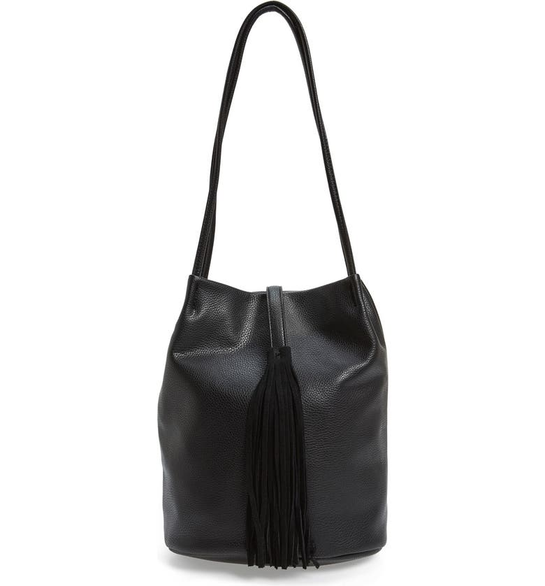 SOLE SOCIETY 'Ariana' Faux Leather Tassel Bucket Bag, Main, color, 001
