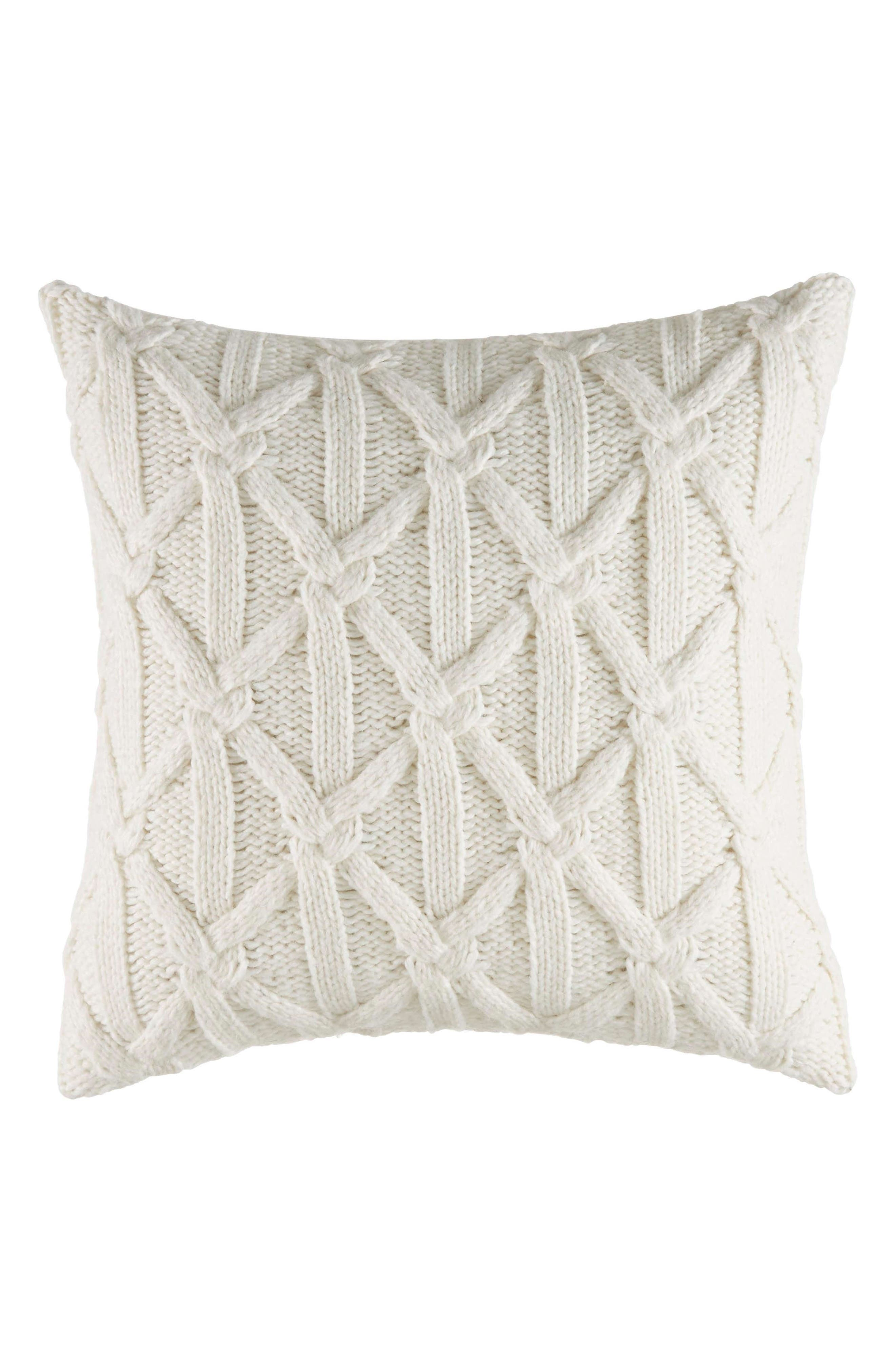 Clearview Lattice Knit Accent Pillow, Main, color, IVORY
