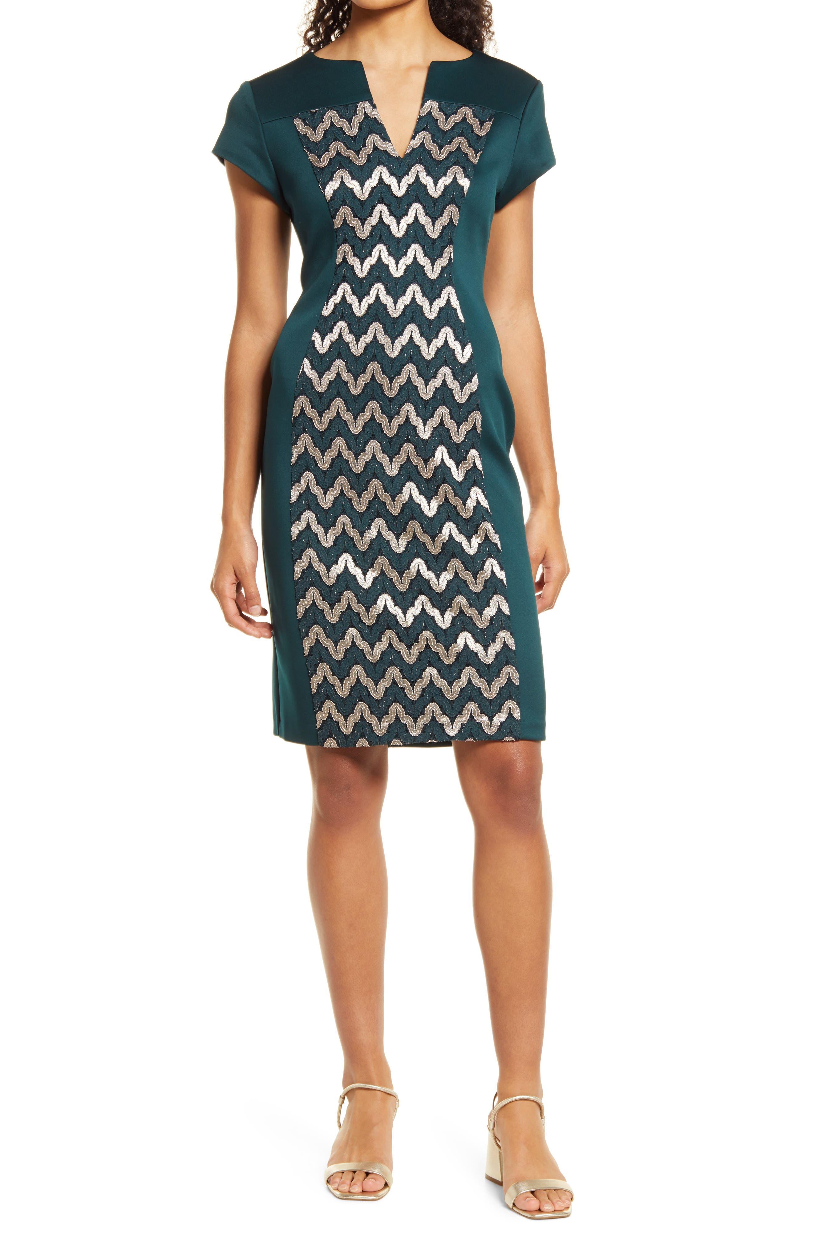 Metallic Lace Inset Sheath Dress