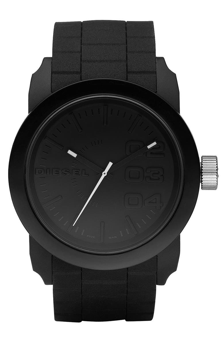 DIESEL<SUP>®</SUP> 'Double Down' Round Silicone Strap Watch, 44mm, Main, color, 001