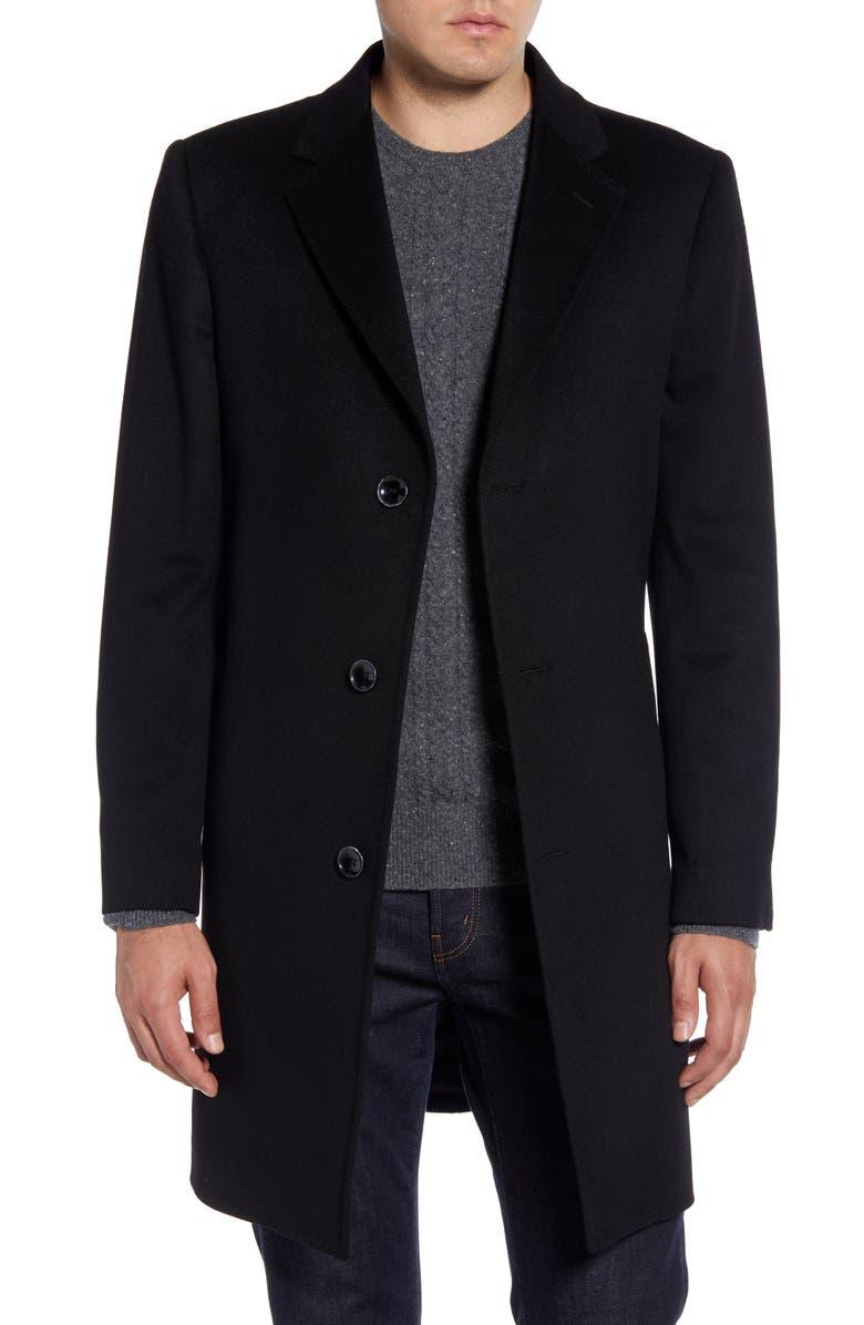 NORDSTROM SIGNATURE Darien Solid Cashmere Overcoat, Main, color, 001
