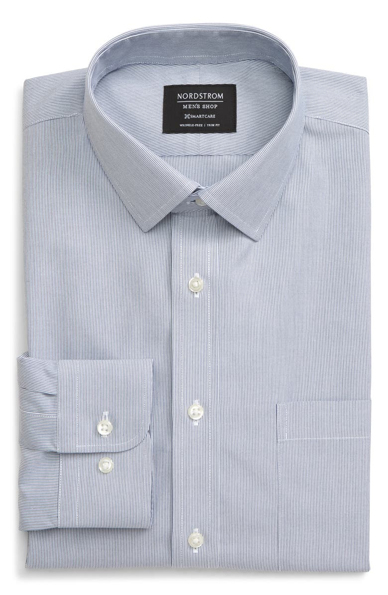 NORDSTROM MEN'S SHOP Smartcare<sup>™</sup> Trim Fit Stripe Dress Shirt, Main, color, BLUE DEPTHS