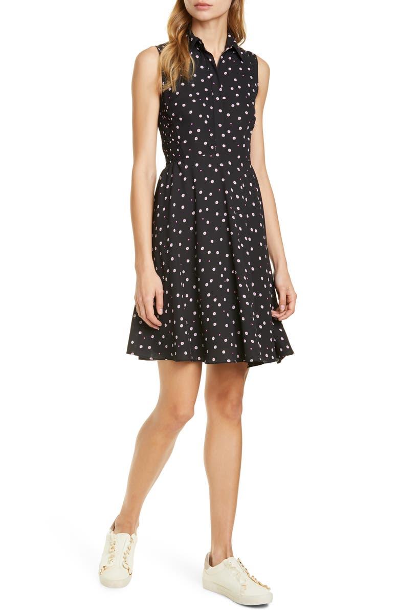 KATE SPADE NEW YORK daisy dot shirtdress, Main, color, BLACK
