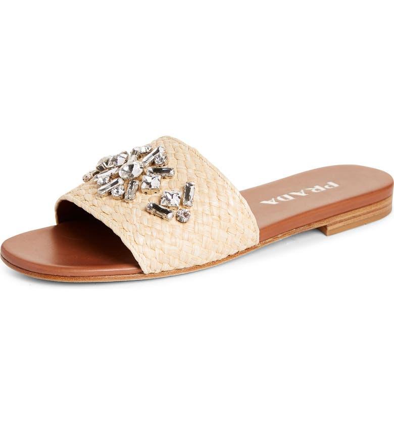 PRADA Embellished Raffia Slide Sandal, Main, color, NATURAL