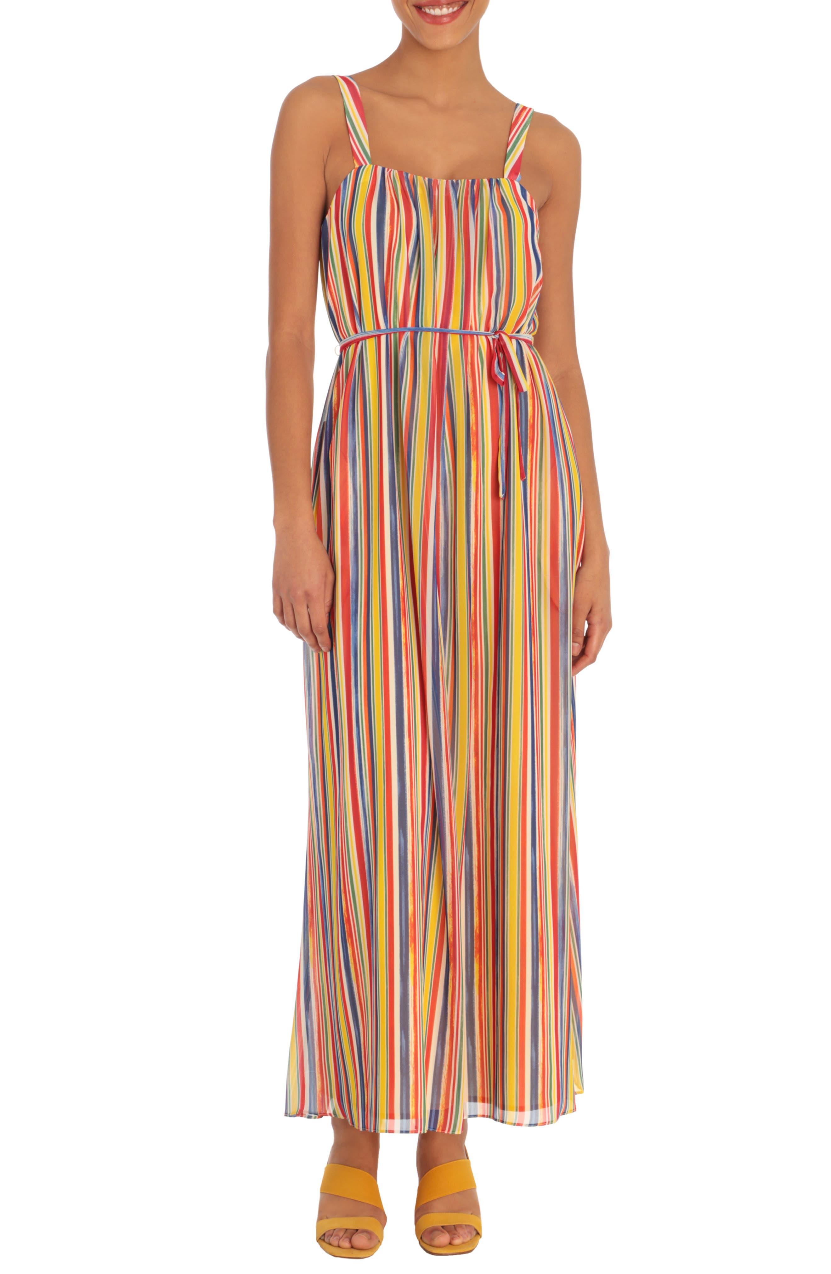 Sleeveless Rainbow Stripe Midi Dress