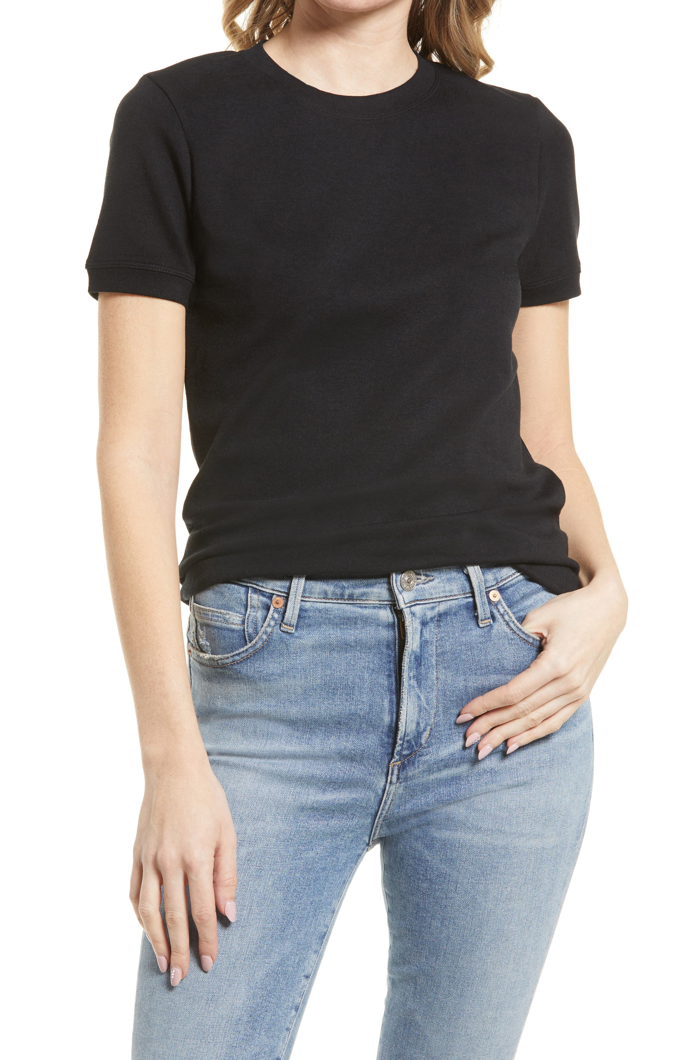 50s Shirts & Tops Womens Treasure  Bond Tonal Ringer T-Shirt Size X-Small - Black $29.00 AT vintagedancer.com