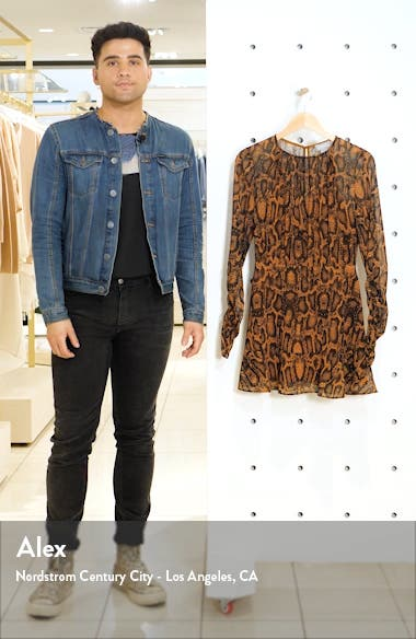 Lana Snakeskin Print Long Sleeve Minidress, sales video thumbnail