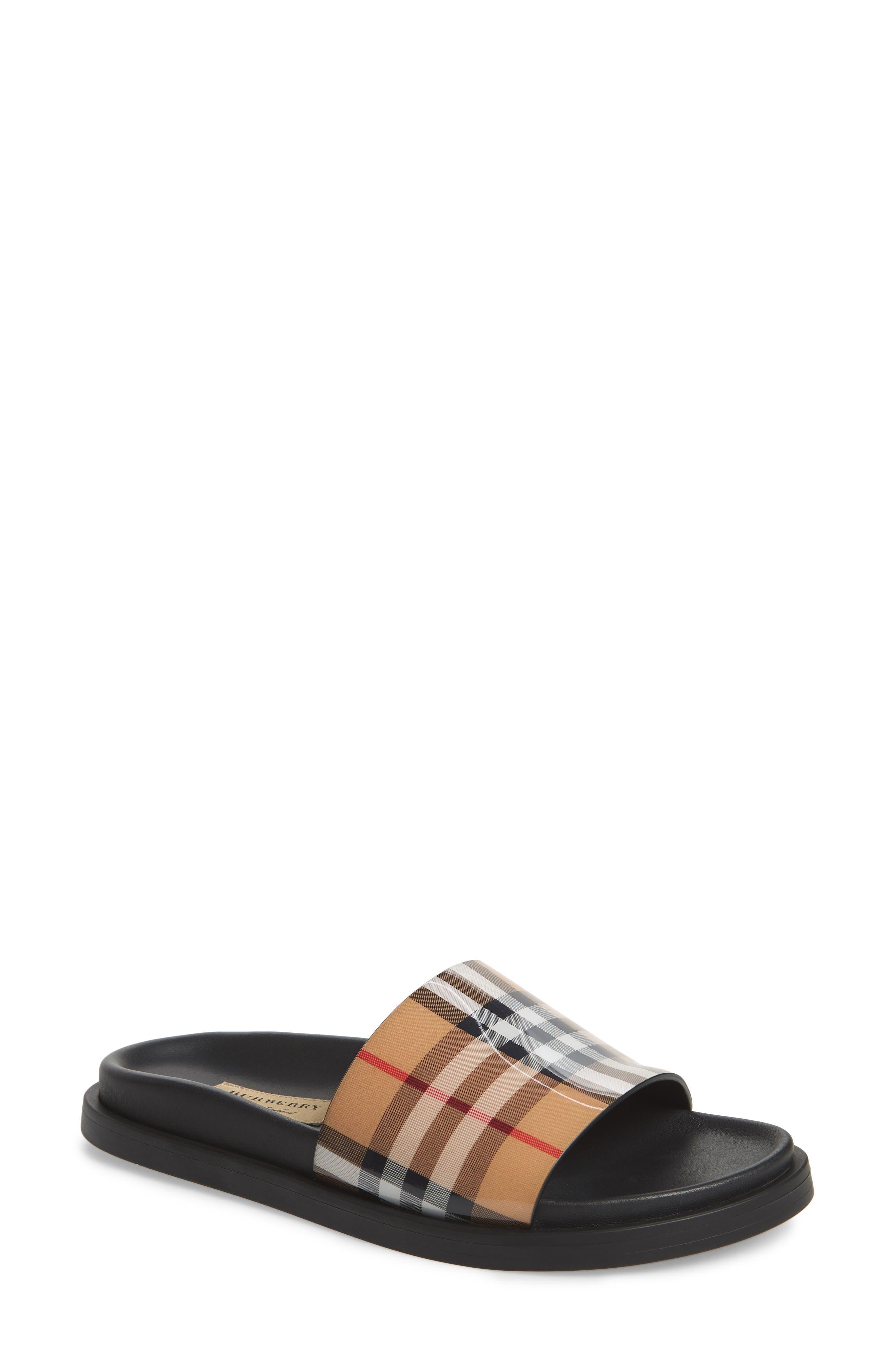 ,                             Vintage Check Slide Sandal,                             Main thumbnail 1, color,                             BEIGE PLAID