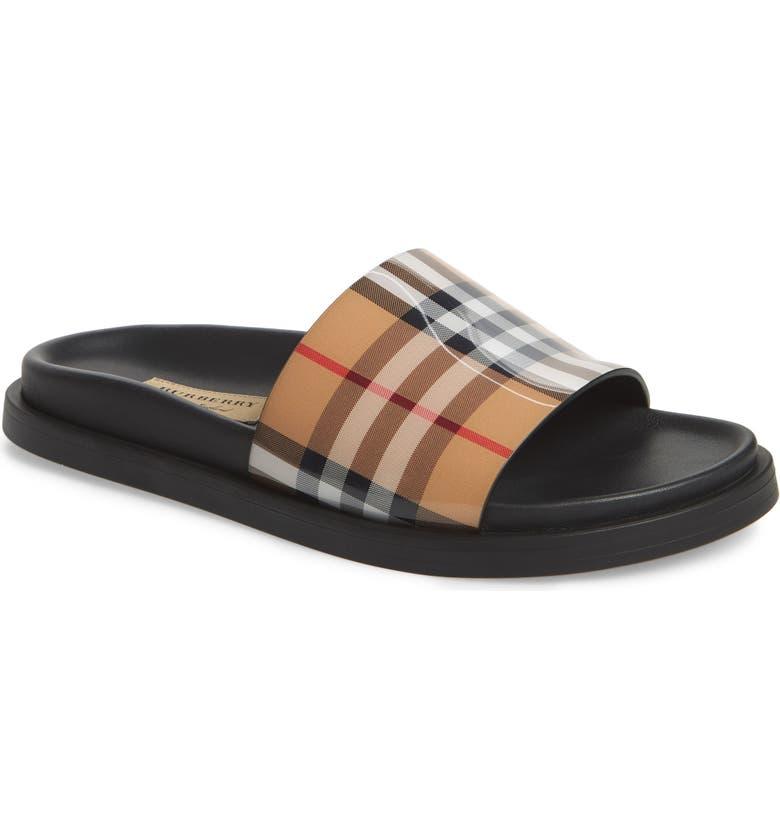 BURBERRY Vintage Check Slide Sandal, Main, color, BEIGE PLAID