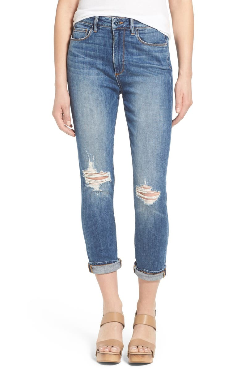 PAIGE 'Carter' High Rise Slim Boyfriend Jeans, Main, color, 400