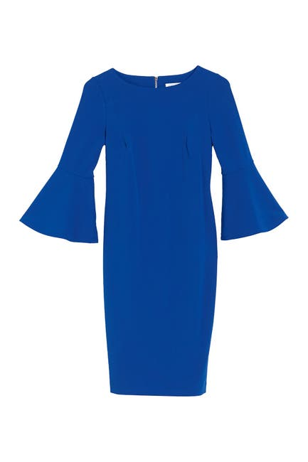 Image of Calvin Klein Bell Sleeve Sheath Dress