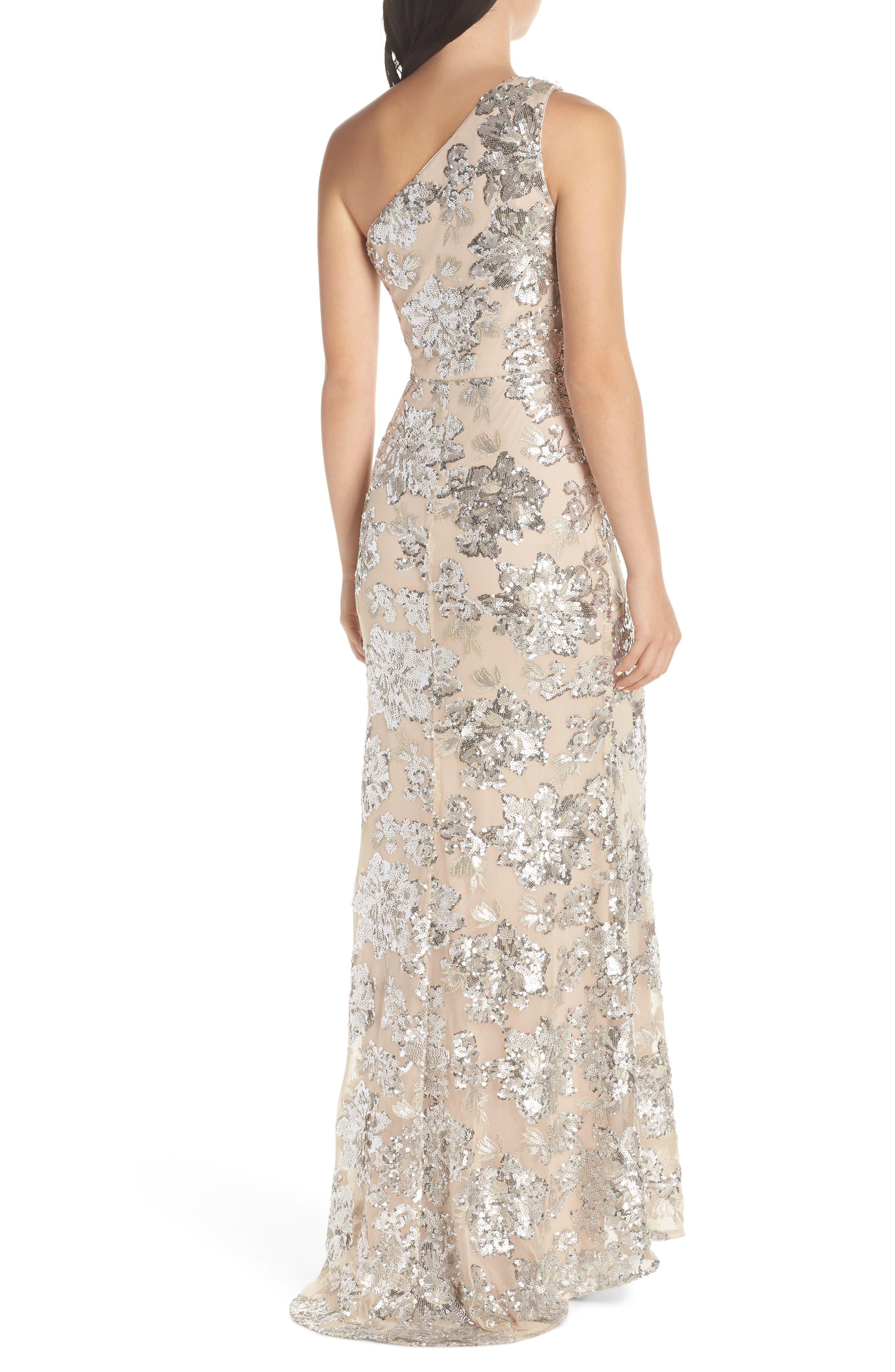 ,                             One-Shoulder Sequin Chiffon Evening Dress,                             Alternate thumbnail 2, color,                             SILVER