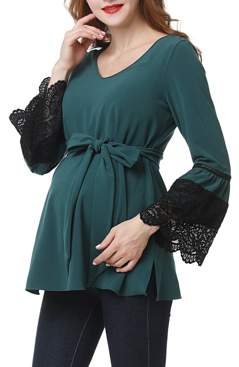 KIMI AND KAI Clara Peasant Maternity Blouse, Main, color, FOREST GREEN