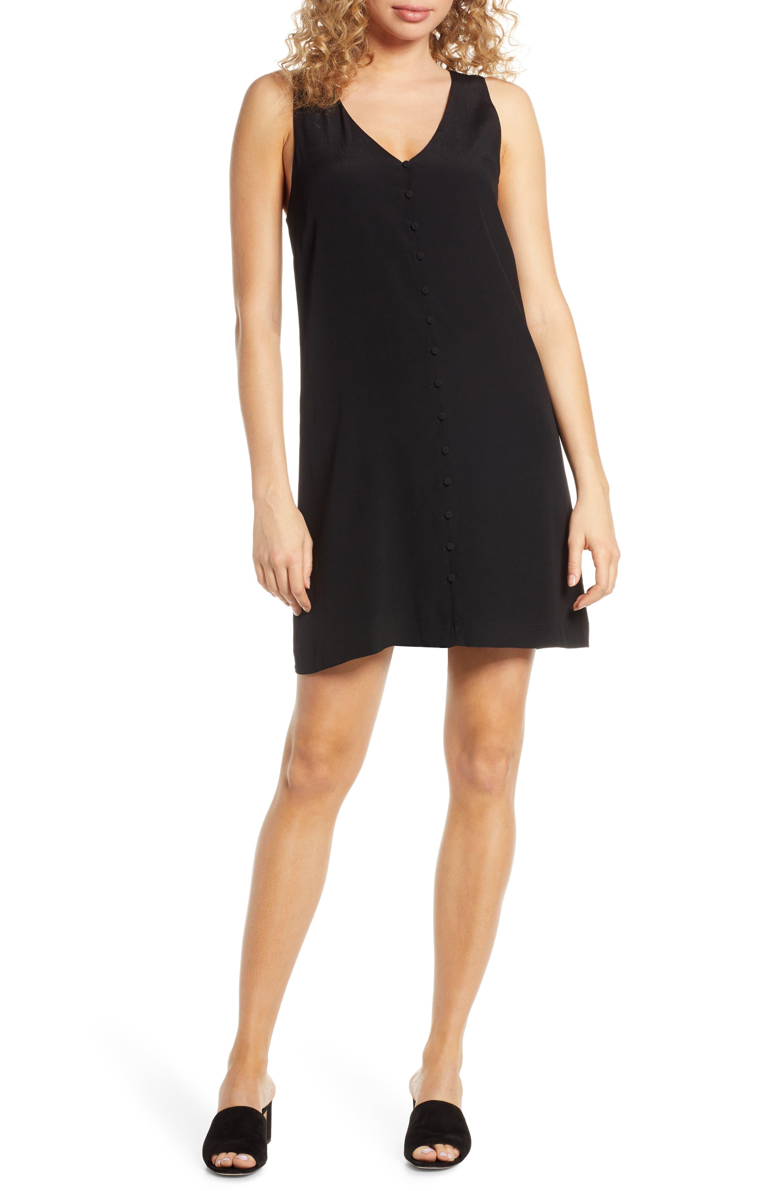 Bb Dakota Hammered Crepe Shift Dress, Black