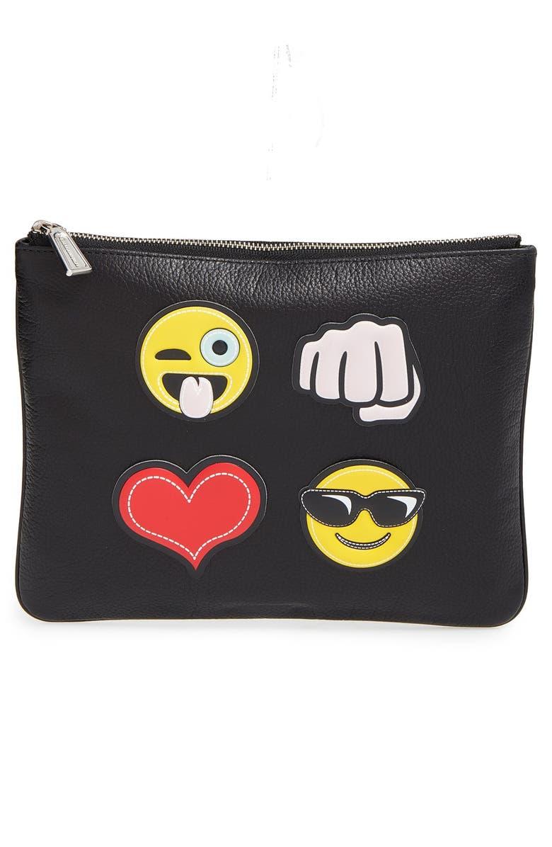 REBECCA MINKOFF 'Crazy' Emoji Sticker Set & Clutch, Main, color, 003