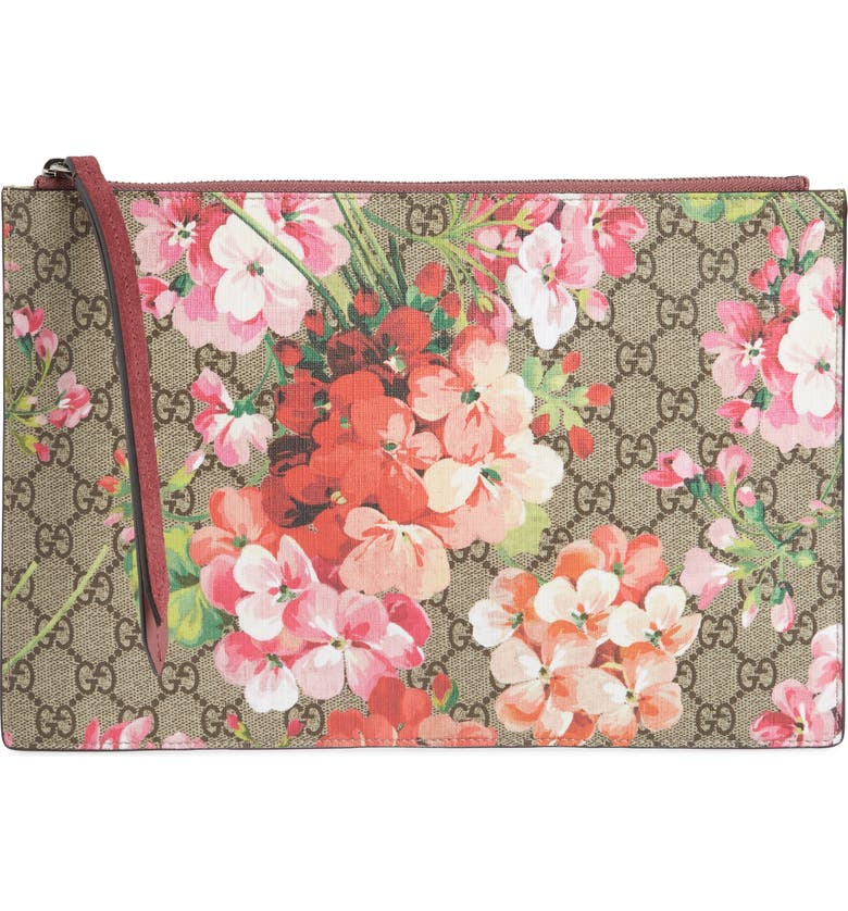 191f628c6 GG Blooms Large Canvas & Suede Pouch, Main, color, ...