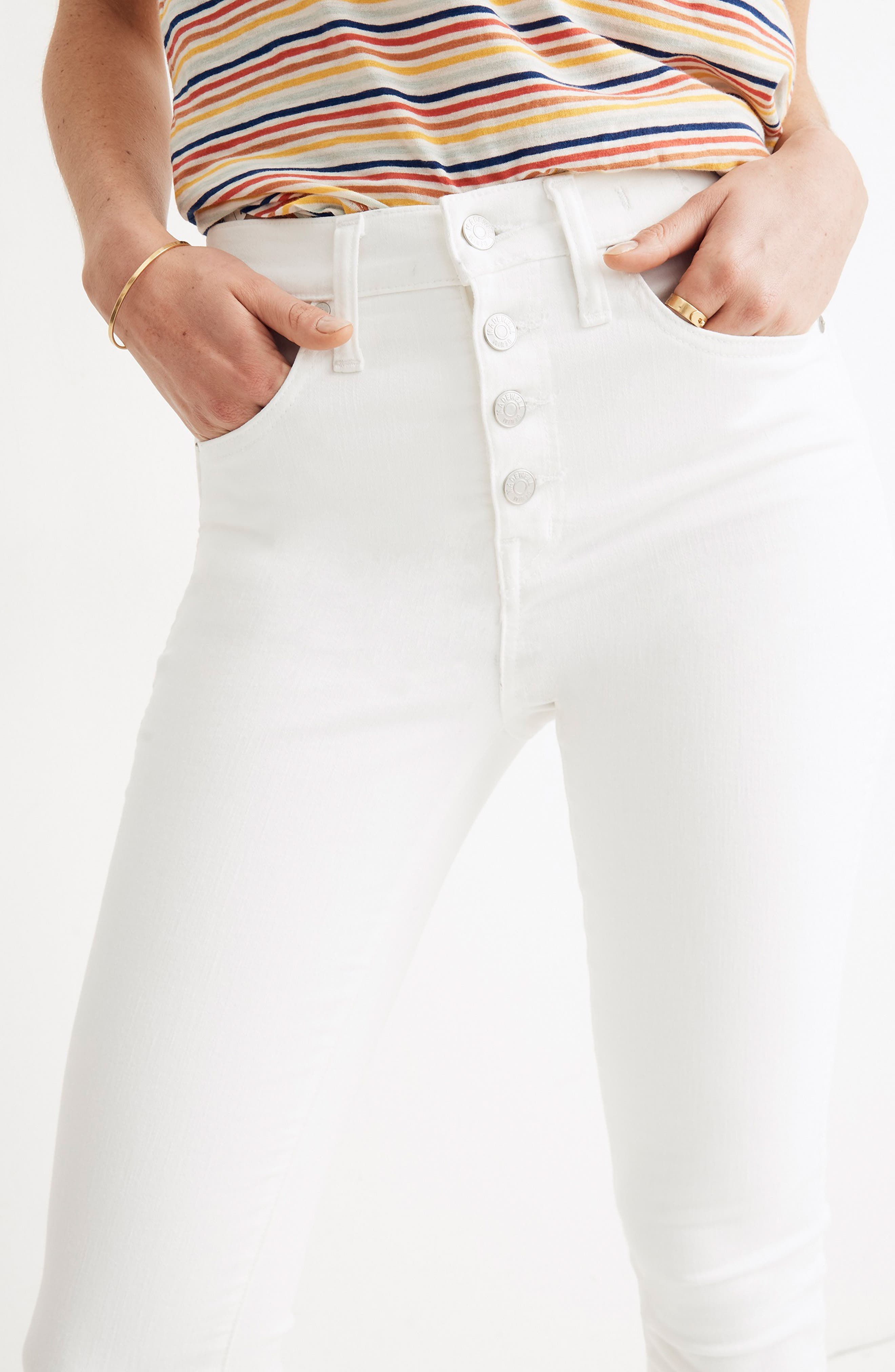 ,                             10-Inch High Waist Button Front Ankle Skinny Jeans,                             Alternate thumbnail 13, color,                             PURE WHITE