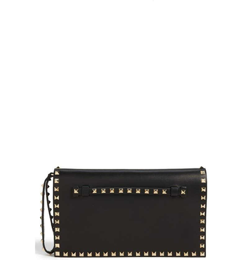 VALENTINO 'Rockstud' Nappa Leather Flap Clutch, Main, color, 001