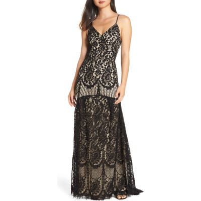 Lulus Flynn Lace Gown With Train, Black