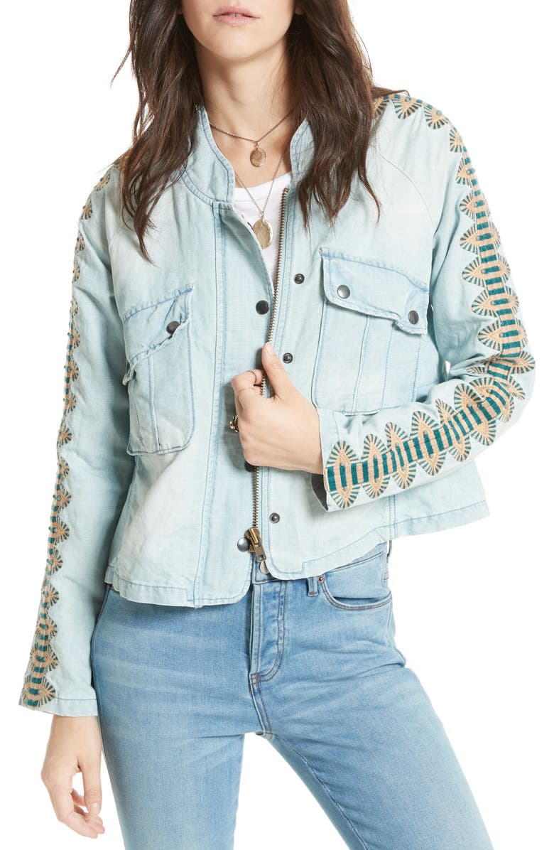 FREE PEOPLE Embroidered Linen & Cotton Jacket, Main, color, 400