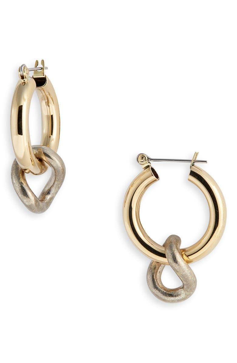 LAURA LOMBARDI Onda Charm Earrings, Main, color, BRASS