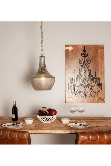 Image of CosmoLiving by Cosmopolitan Large Vintage Style Silver Smoked Glass Pendant Light