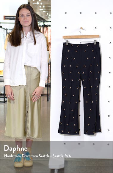 Ant Embroidered Crop Flare Pants, sales video thumbnail