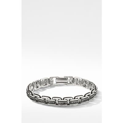 David Yurman Deco Chain Link Bracelet With Pave Black Diamonds