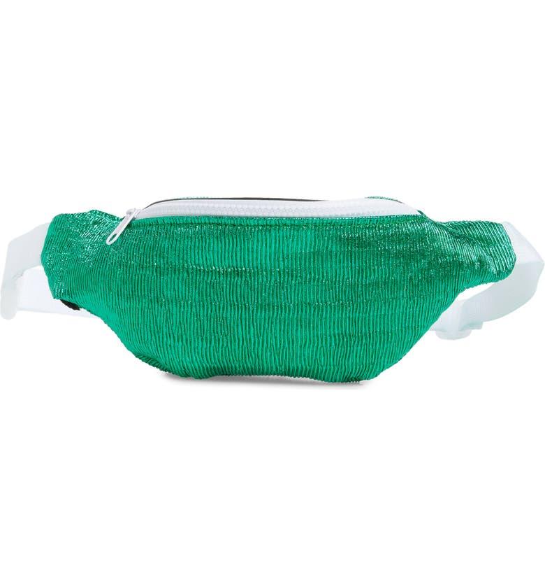 JANE & BERRY Crinkle Metallic Belt Bag, Main, color, 400