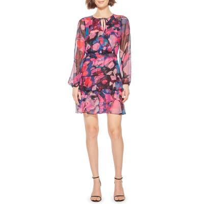 Parker Marengo Long Sleeve Silk Minidress, Purple