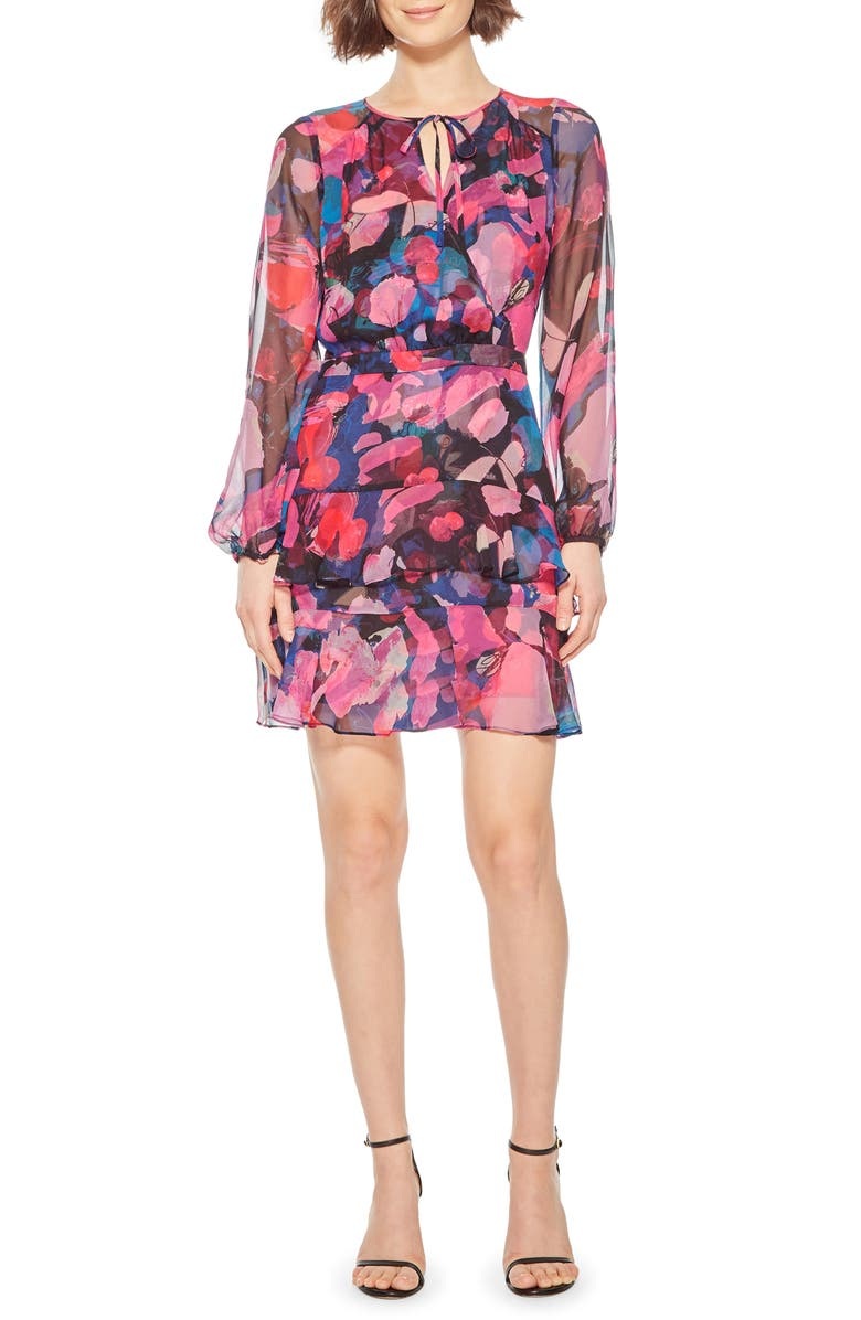 PARKER Marengo Long Sleeve Silk Minidress, Main, color, PEONY DREAMS
