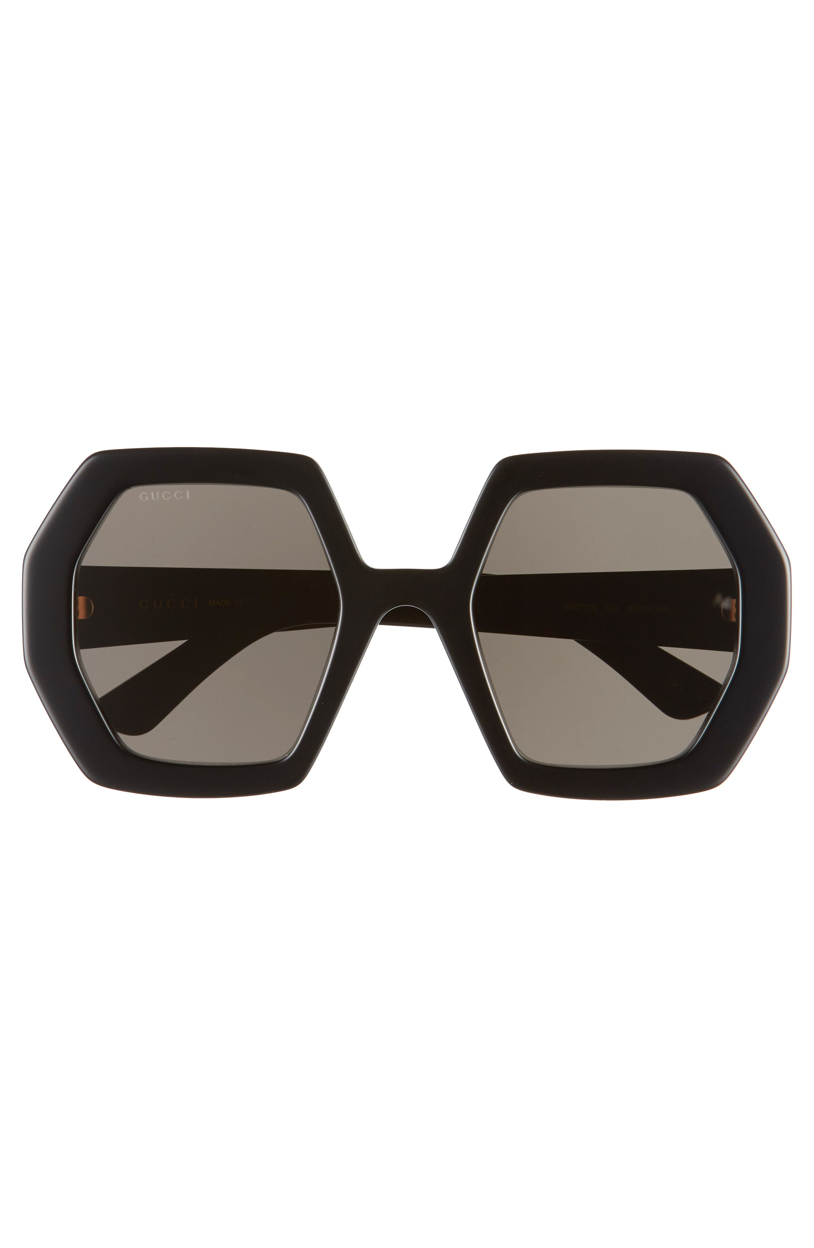 Bold, angular frames and logo hardware make these sunglasses so striking, while adjustable nose pads and lightweight nylon lenses help ensure a comfortable fit. Style Name: Gucci 55mm Angular Sunglasses. Style Number: 5978281. Available in stores.