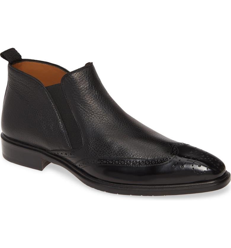 MEZLAN Bexley Mid Chelsea Boot, Main, color, BLACK LEATHER/ DEERSKIN