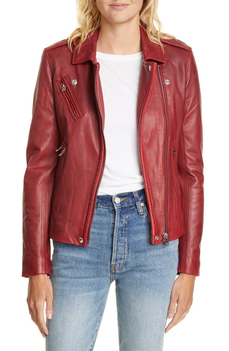 IRO Leather Moto Jacket, Main, color, CRANBERRY