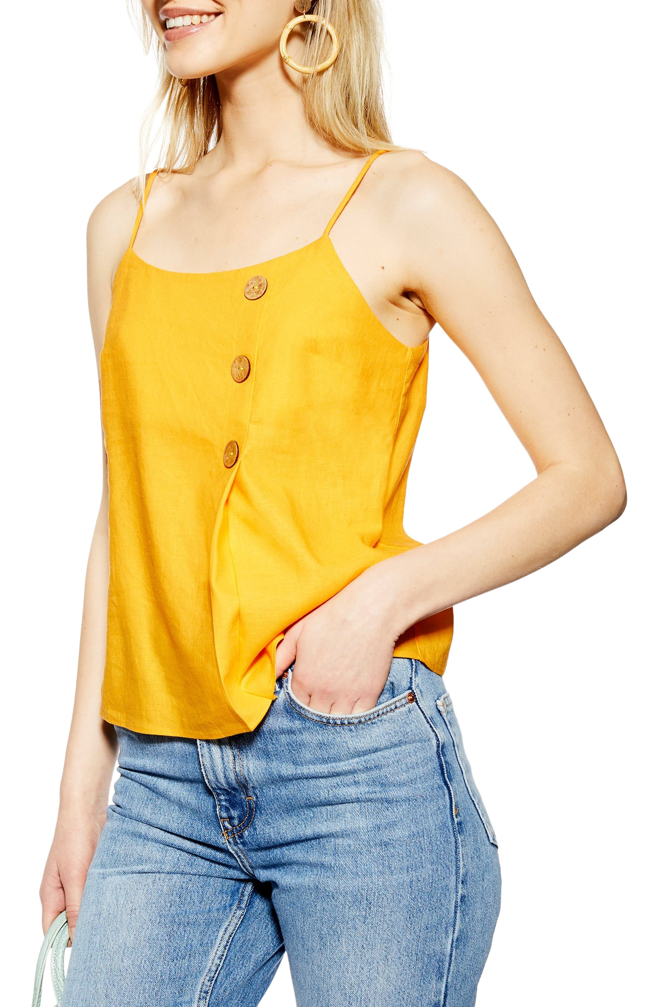 Topshop Button Wrap Camisole Top, US (fits like 6-8) - Yellow