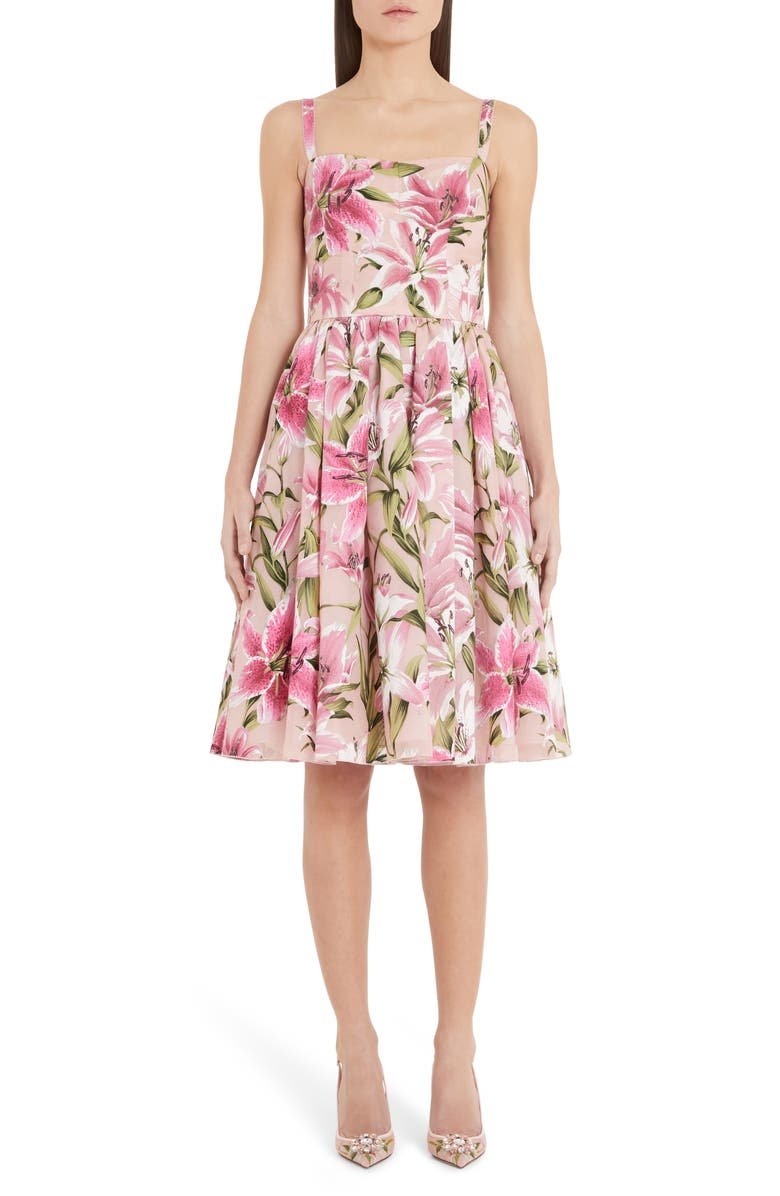 DOLCE&GABBANA Lily Print Silk Organza Fit & Flare Dress, Main, color, PINK LILY