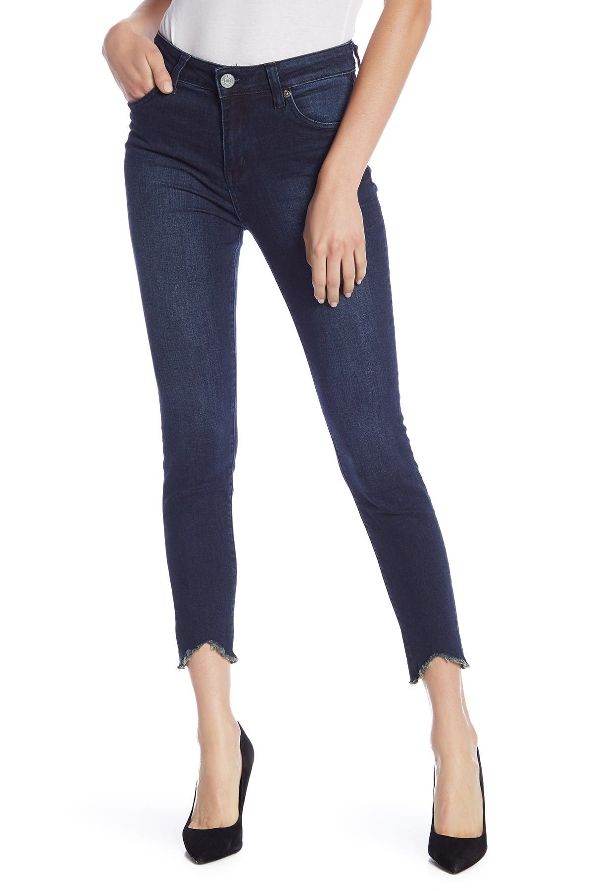 Image of KUT from the Kloth Carlo High Rise Curved Hem Skinny Jeans